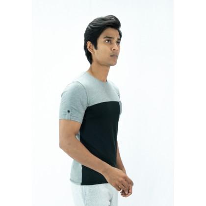 AMNIG Men Contrast Back Panel T Shirt
