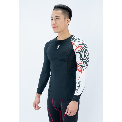 Amnig Men Tribal Compression Long Sleeve
